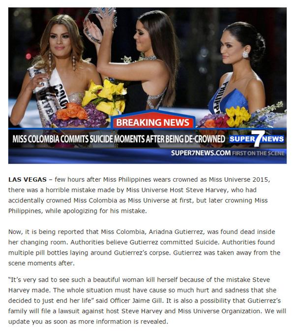 Thông tin gây bão về việc Hoa hậu Colombia tự tử chỉ là bịa đặt - Ảnh 1.