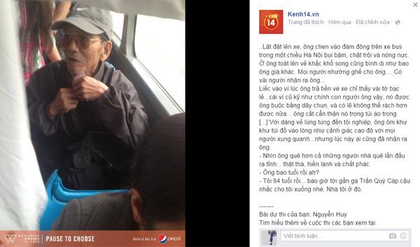 Dân mạng xúc động trước hình ảnh nghệ sĩ già Trần Hạnh chen vào đám đông trên xe bus - Ảnh 1.
