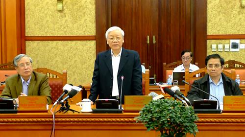 Tổng bí thư Nguyễn Phú Trọng phát biểu tại cuộc họp. Ảnh: TTX