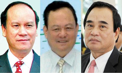 Các bị can (từ trái qua): Trần Văn Minh, Nguyễn Điểu, Văn Hữu Chiến.