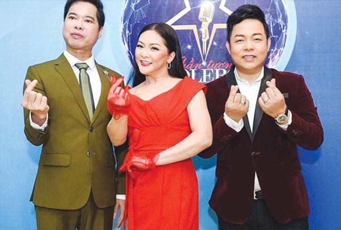 """Ba ngôi sao bolero là Ngọc Sơn, Như Quỳnh và Quang Lê trong chương trình """"Thần tượng bolero""""."""