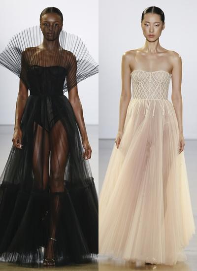 Các thiết kế sử dụng kỹ thuật dựng phom dáng corset hoàn toàn bằng lưới mỏng và khâu tay.