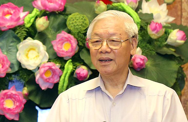 Tổng bí thư phát biểu tại buổi làm việc với đoàn Chủ tịch Mặt trận Tổ quốc Việt Nam ngày 10/4. Ảnh: PV.