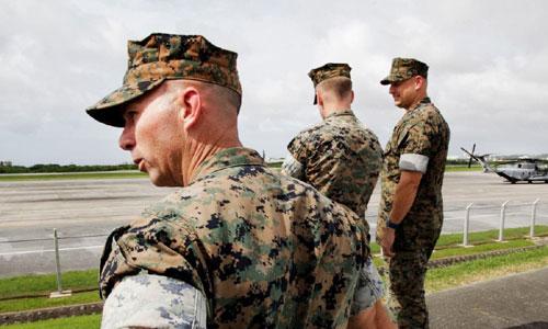 Binh sĩ thủy quân lục chiến Mỹ đóng quân tại căn cứ Futenma trên đảo Okinawa. Ảnh: JapanTimes.