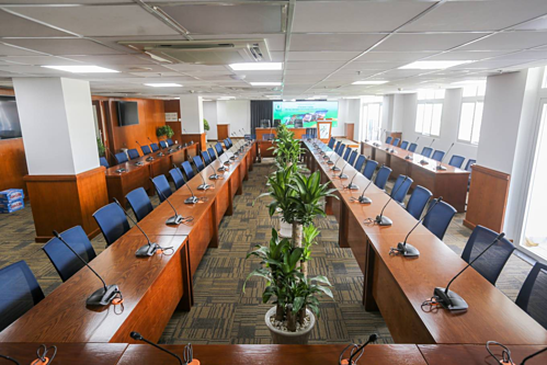 Phòng họp báo trong trung tâm báo chí TP HCM. Ảnh: Quỳnh Trần