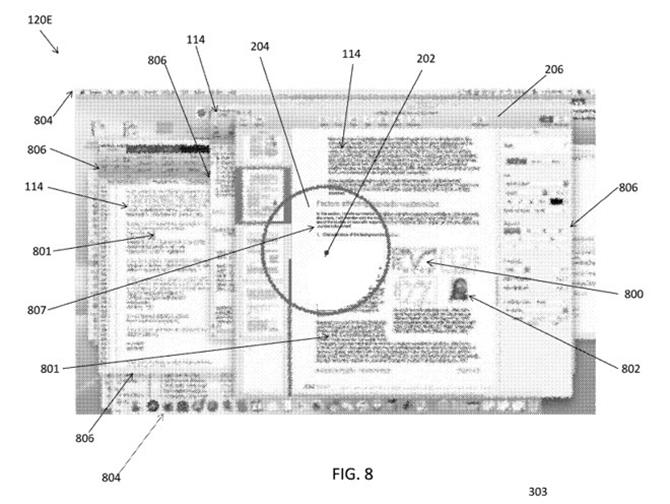 Sáng chế của Apple mô tả việc mã hóa màn hình: Vùng khoanh tròn hiển thị rõ, trong khi xung quanh bị làm mờ hoặc mã hóa.