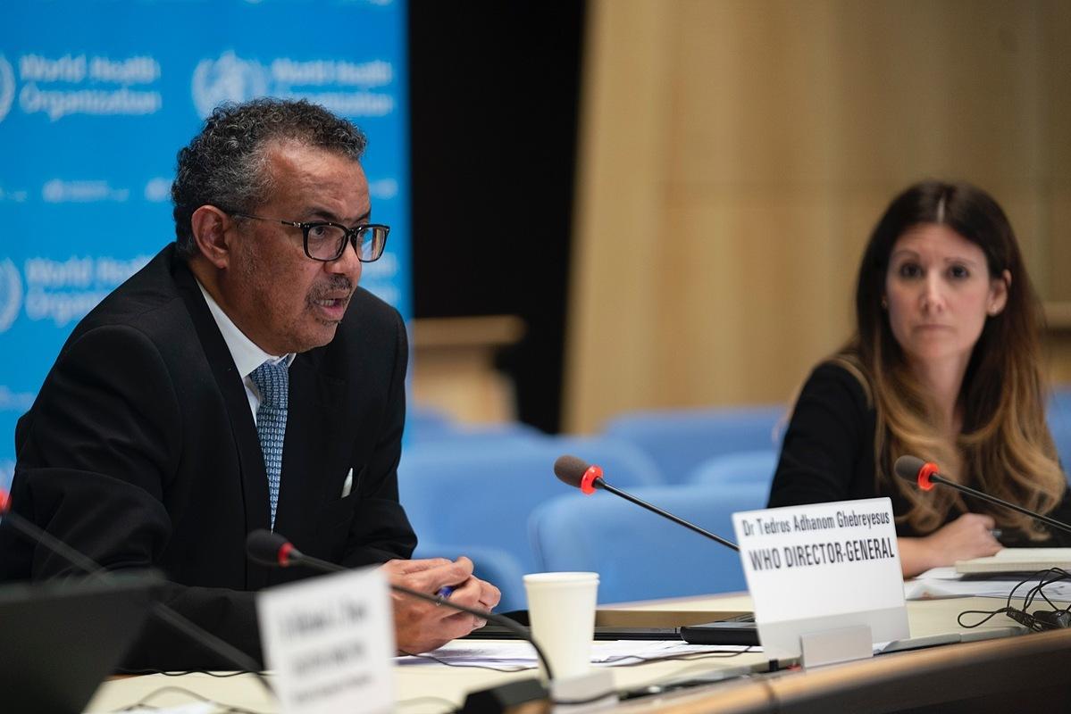 Tổnggiám đốc WHO Tedros Adhanom Ghebreyesus phát biểu trong cuộc họp ngày 19/3. Ảnh: WHO