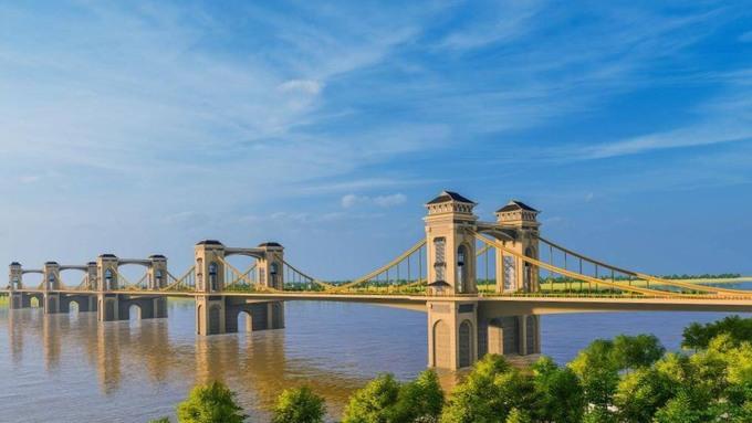 Phối cảnh phương án kiến trúc thứ nhất của cầu Trần Hưng Đạo. Ảnh: TEDI.