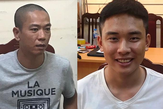 Ngọc (trái) và Mạnh lúc bị bắt. Ảnh: Công an cung cấp.