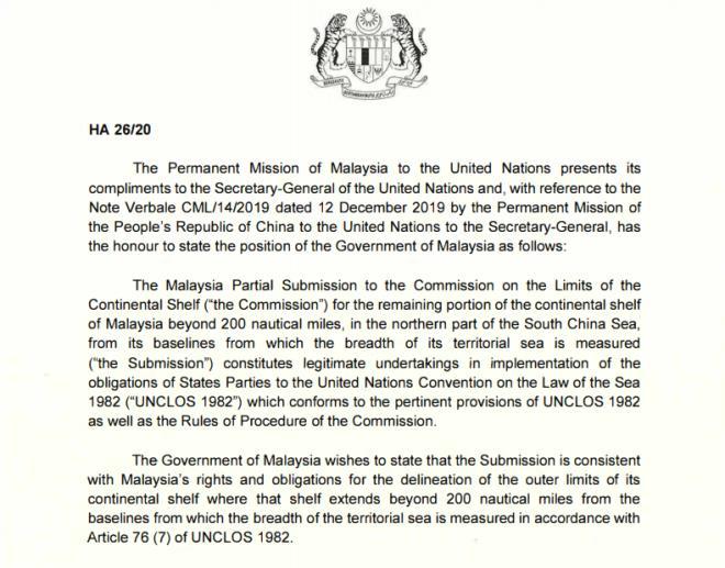 Malaysia gửi công hàm lên LHQ phản đối yêu sách của Trung Quốc ở Biển Đông - 1