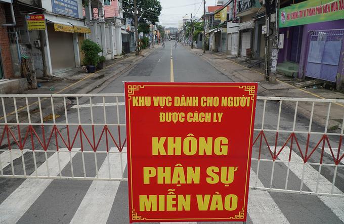 Đường Hồ Văn Đại (TP Biên Hòa, tỉnh Đồng Nai), bị cách ly vì liên quan bệnh nhân 595. Ảnh:Phước Tuấn
