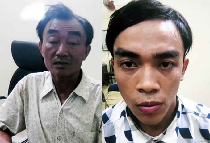 Nguyễn Khanh và con trai lúc bị bắt. Ảnh: Công an cung cấp.