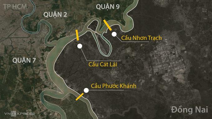 Ba dự án cầu nối TP HCM với Đồng Nai. Đồ họa: Khánh Hoàng.