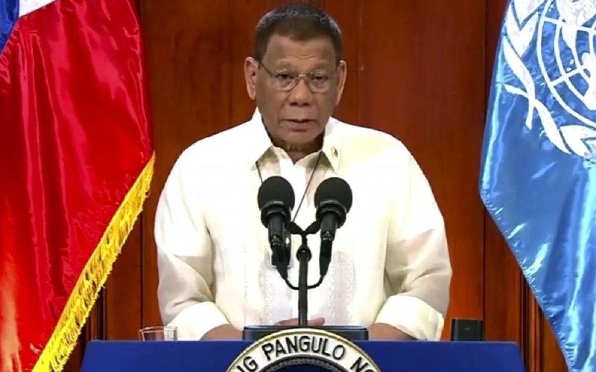 Tổng thống Philippines Duterte phát biểu hướng tới Đại hội đồng Liên Hợp Quốc hôm 22/9. Ảnh: UNTV.
