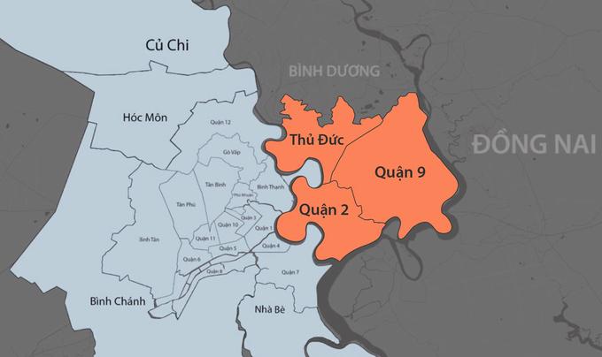 Thành phố dự kiến gồm ba quận: 2, 9 và Thủ Đức. Đồ họa:Khánh Hoàng.