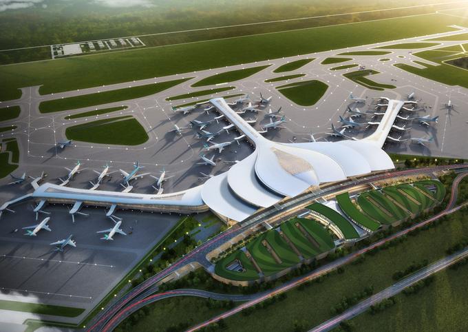Phối cảnh thiết kế sân bay nhìn từ trên cao. Ảnh: ACV