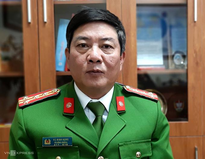 Đại tá Vũ Minh Hùng, trưởng phòng hướng dẫn quản lý vật liệu nổ công cụ hỗ trợ và pháo, Cục CS Quản lý hành chính về trật tự xã hôi (C06), Bộ Công an. Ảnh: Bá Đô