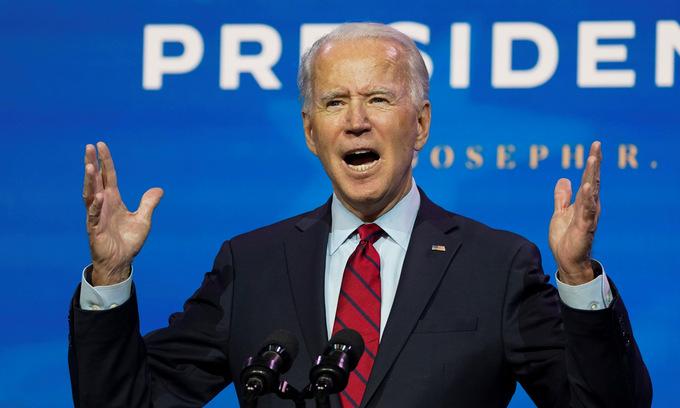 Biden trong buổi giới thiệu thành viên nội các tại bang Delaware hôm 11/12. Ảnh: Reuters.