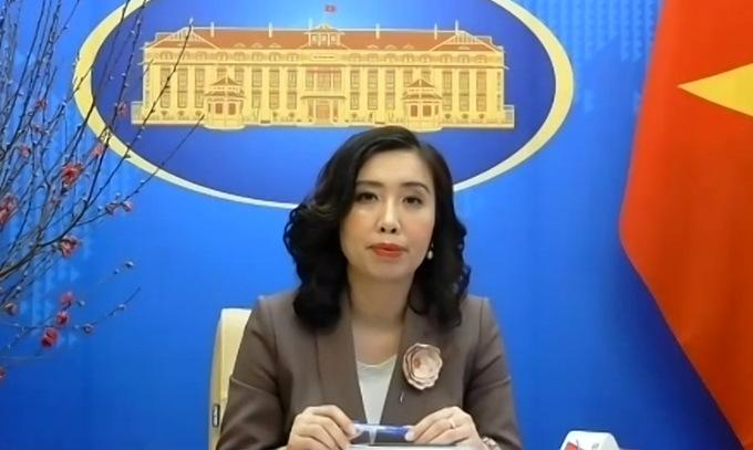 Người phát ngôn Lê Thị Thu Hằng trong cuộc họp báo trực tuyến ngày 4/2. Ảnh: Vũ Anh.