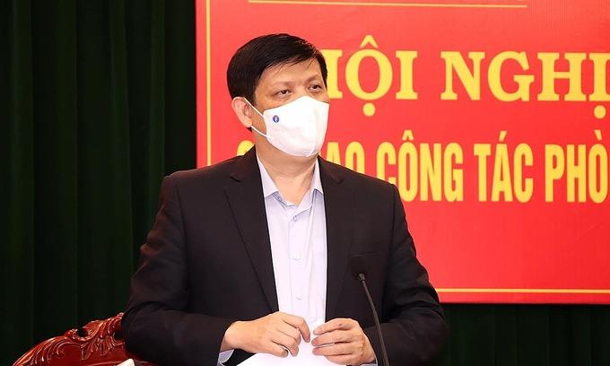 Bộ trưởng Y tế họp trực tuyến công tác phòng chống dịch chiều 14/2. Ảnh: Trần Minh.