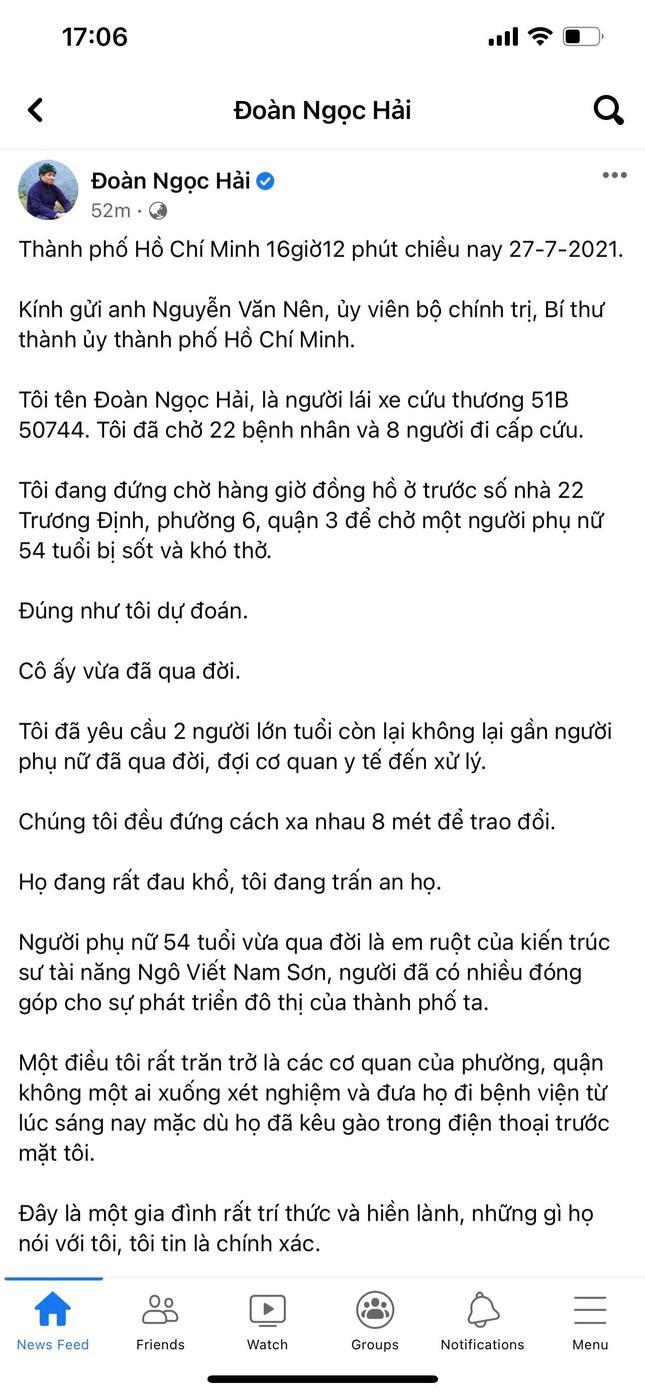 Sự thực vụ tử vong trên tài khoản Facebook 'Đoàn Ngọc Hải' ảnh 1