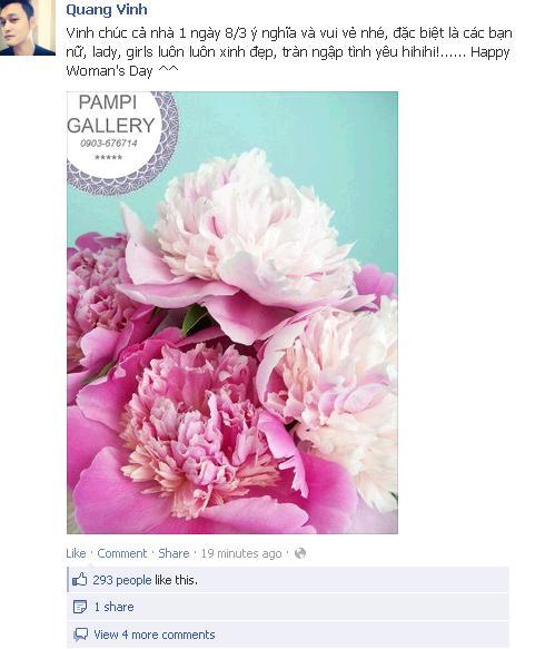 Sao Việt nô nức chúc mừng 8/3 qua Facebook