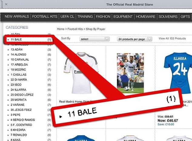 bán áo đấu, Bale