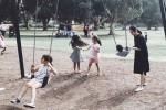 Tăng Thanh Hà đưa con trai đi chơi công viên
